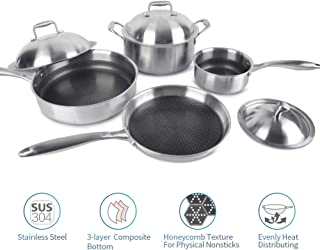 Enougheat Non-Stick Kitchen Cookware Set,18/10 Stainless Steel 3-Ply Safe Cookware Set,7-Pieces,Sliver