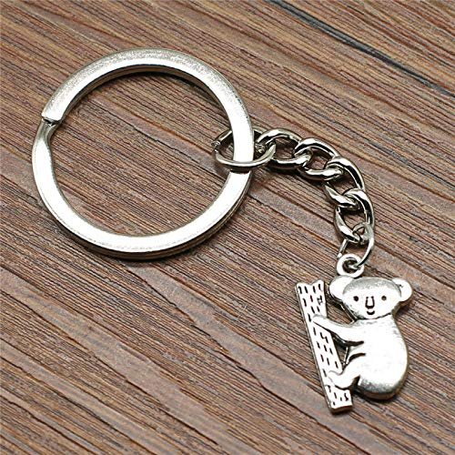 JLZK Keyring Koala Keychain 20x14mm Silver color Fashion Handmade Metal KeyChain Souvenir Gifts For Women