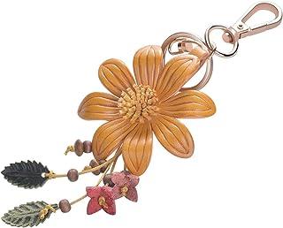 Girl's Leather Flower Fashion Keychain Gold Plated Bag Charm Cute Car Key Ring Crystal Purse Pendant #51617