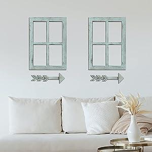 Viforu Farmhouse Wall Decor Window Frame with Arrow, Rustic Home Decor, Wooden Window Pane & Arrows Home Decor 2 Pack,Arrow Wall Decor,Farmhouse Wall Décor Bedroom,Living Room Decor (2 Set ,Blue)
