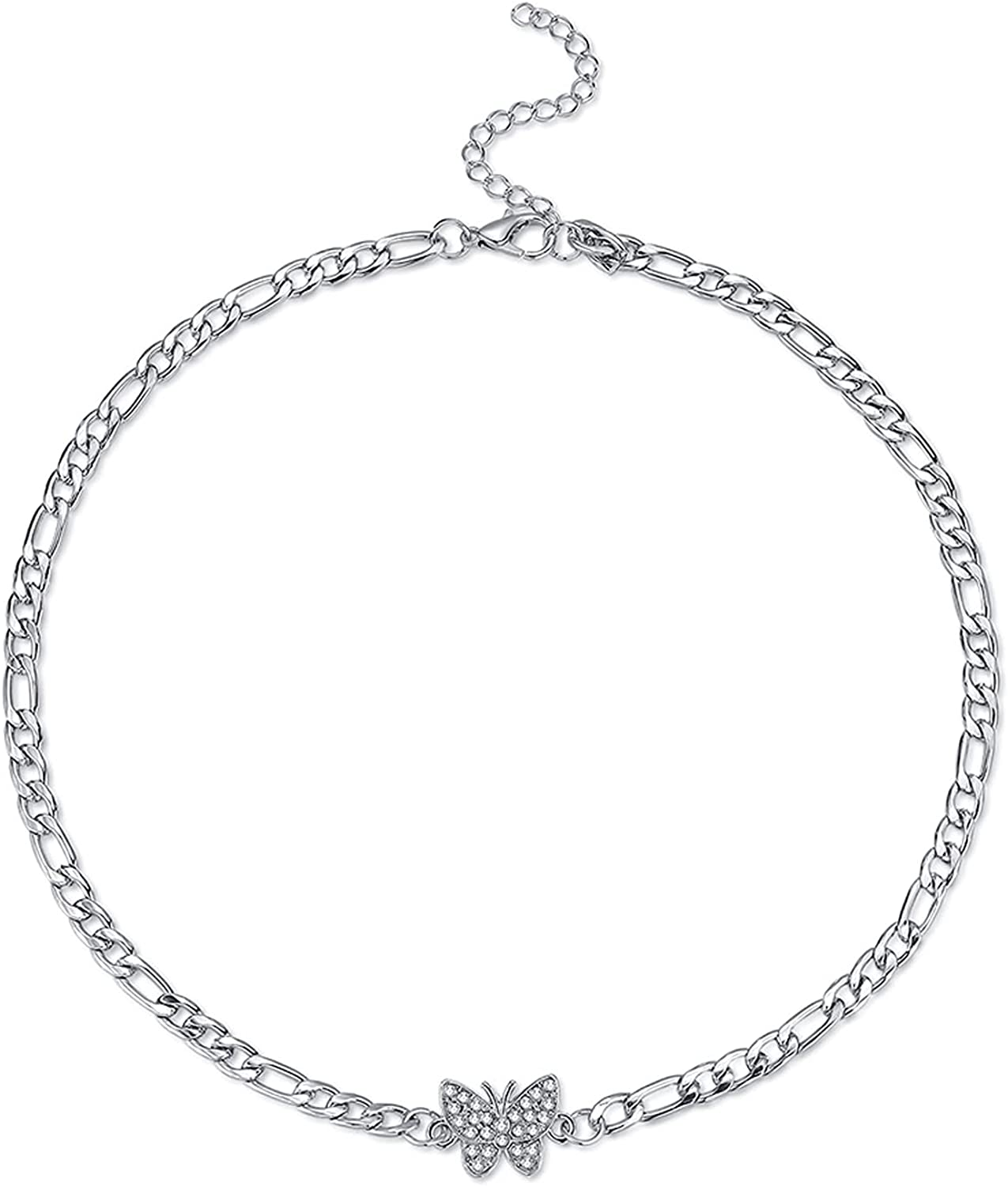 SISMIURRA Butterfly Choker Necklace for Women, 14k White Gold Plated Shining Rhinestone Tennis Cuban Adjustable Chain Necklaces Delicate Jewelry Gifts