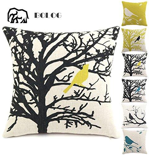 BOLOG Housse de Coussin Coton Lin Durable Canapé-lit Home Decor Taie d'oreiller Throw Haute Qualité,Bird on The Tree 45X45CM
