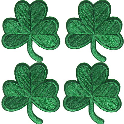 4 Packs Irish Clover Embroidered Patches St. Patrick's Day Clover Sewing on Patches Dark Green Embroidered Emblem Lucky Shamrock Iron Sew on Ireland Patch for Clothes Bag Hat Crafting Projects