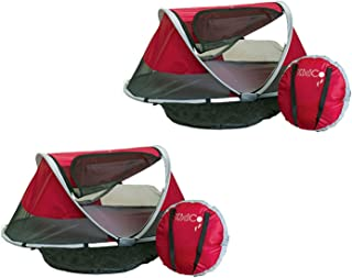 KidCo Peapod Portable Toddler Travel Bed & Storage Bag, Cranberry (2 Pack)