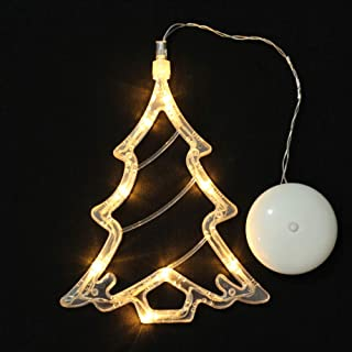 Lomanda Christmas Lights with Suction Cup, Decorative Novelty Hanging 3D Lights, Fairy String Lights for Indoor Patio Home Party Garden Bedroom Festival Warm White