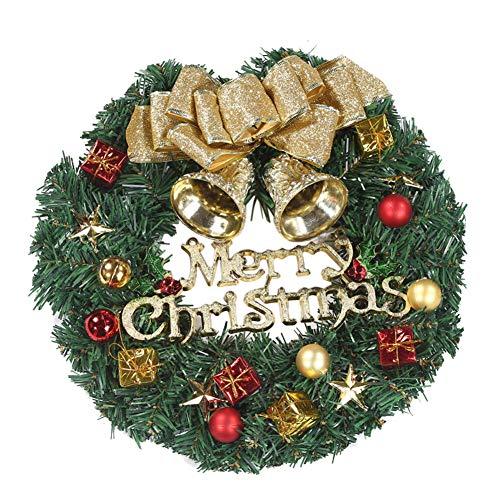 XdiseD9Xsmao 30 cm dubbele Jingle Bell kerstslinger krans kunstbloem blad huis deur raam hangende ornament decoratie Engelse brief *