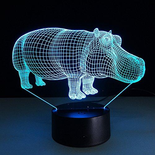 Luz nocturna LED 3D con forma de hipopótamo con 7 colores para la decoración principal, lámpara de mesa de hipopótamo, iluminación óptica sorprendente.