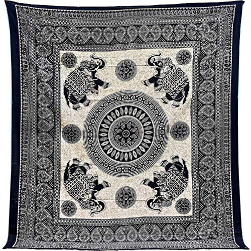 Tapiz Mandala 100% Algodón de la India con 210X240 cm Tapices Indios de Decoración Múltiples Aplicaciones: Cubrecama, Cubre sofá, Mantel, Pareo, Foulard, Picnic, Toalla Playa. Elefantes