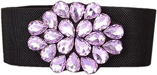 Dorchid Women Belt for Dress Luxury Beaded Crystal Wide Stretch Belts Classic