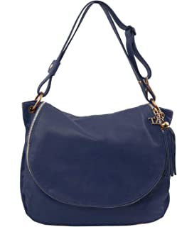 dfa1c39261 Tuscany Leather TLBag Sac bandoulière Besace en Cuir Souple avec Pompon  Bleu foncé