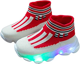 Hopscotch Baby Boys and Baby Girls Mesh High Ankle LED Slip Ons in Red Color