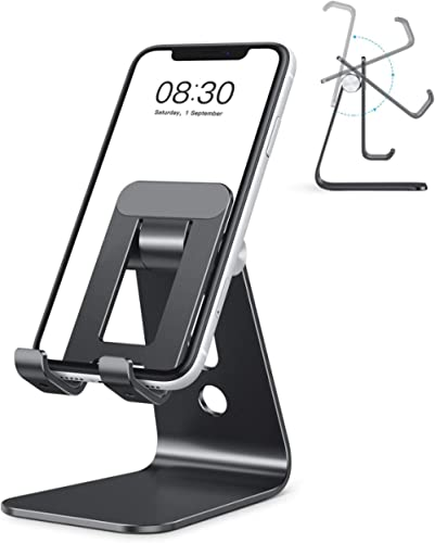 Cell Phone Stand, OMOTON Adjustable Aluminum Desktop Cellphone Tablet Stand Holder for Cellphones, iPhone and E-Reade...