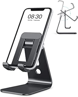 Cell Phone Stand, OMOTON Adjustable Aluminum Desktop Cellphone Tablet Stand Holder for Cellphones, iPhone and E-Readers, B...