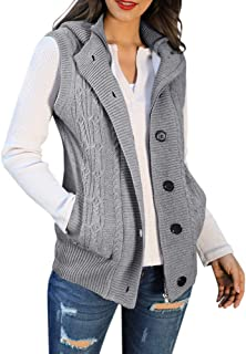 Womens Cardigan Sweater Hooded Vest Cable Knit Sleeveless Button Down Outerwear Coat with Pockets