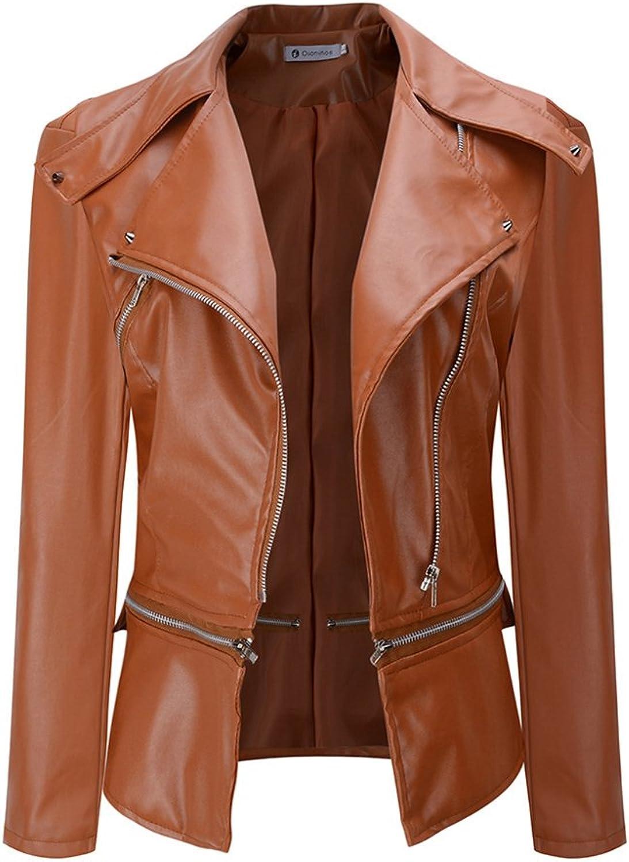 HEMAY Women Fashion PU Leather Slim Motorcycle Jacket