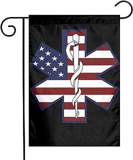 American Flag EMS EMT Garden Flag Party Decor Flags For Celebration,Festival,Home,Outdoor,Garden Decorations 12 X 18 Inch