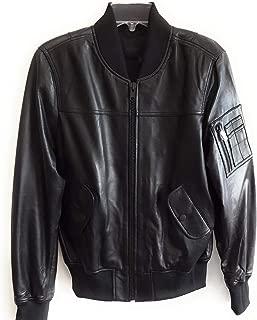Kendall Kylie Leather Bomber Jacket, Black, Large