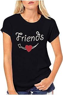 Día De San Valentín Camiseta Mujer Manga Corta Camiseta Deportivo Cuello Redondo Blusas De Mujer En Oferta Letra Impresa H...