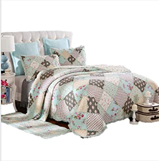 Dodou European Style Quilt Patchwork Bedding Set Summer Comforter Full/Queen Size Air Conditioning Quilt Blanket 3pcs