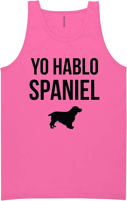 zerogravitee Yo Hablo Spaniel Neon Pink Tank Top - XX-Large