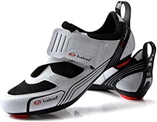 ZMYC Men's Cycling Shoes Racing Shoes Professional Lightweight Wear Resistant Road Cycling Shoes Lock Shoes Mountain Bike Shoe (Color : White, Size : 47)