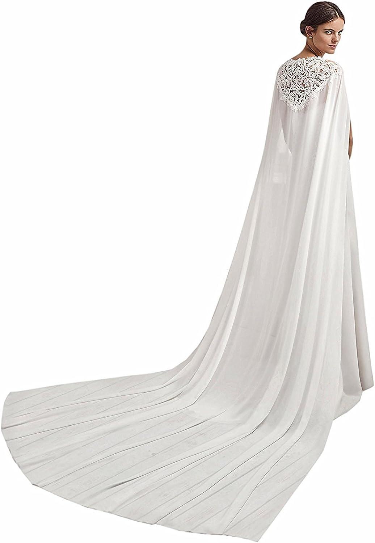 Wedding Chiffon Cloak Lace Appliques Cathedral Length Bridal Cloak Bride Cape