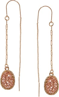 Humble Chic Simulated Druzy Chain Bar Threaders - Gold-Tone Long Sparkly Needle Drop Earrings for Women