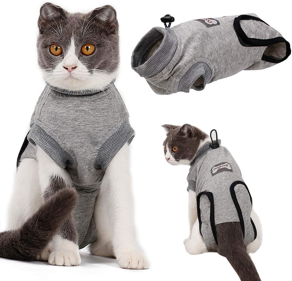 EMUST Cat Recovery Suit, Professional Recovery Suit for Cats for Abdominal Wounds and Skin Diseases,Breathable E-Collar Alternative for Cats Pet Kitten, Cat Onesie After Surgery Wear Anti-Licking, S