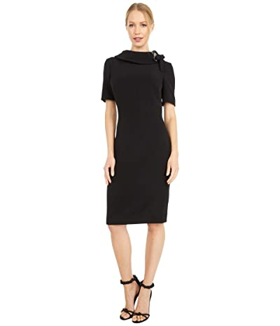 Badgley Mischka Tie Neck Dress (Black) Women