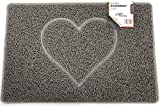 Nicoman HEART Embossed Shape Door Mat Dirt-Trapper Washable Barrier Doormat - (Use Indoor or Sheltered Outdoor) - (75x44cm/29.5x17.3inches,Medium) GREY