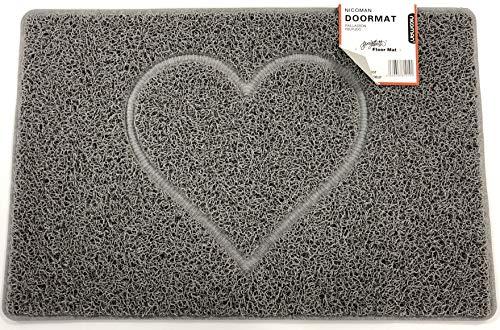 Nicoman Spaghettimatten Fußmatte für den Eingangsbereich|Robuste Schmutzfangmatte aus Vinylschlingen|Innen und Aussen | Geprägt Herz【60x40cm, Klein】,Grau