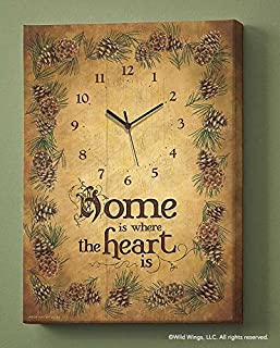 Wild Wings Home is Where The Heart is Canvas Clock by Persis Clayton Weirs