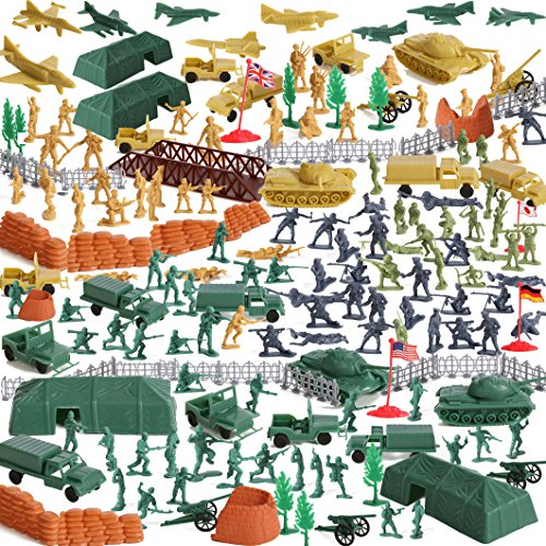 IQ Toys Huge 300 Piece Military Base Set, 200 Soldiers & 100 Army Accessories in a Storage Container