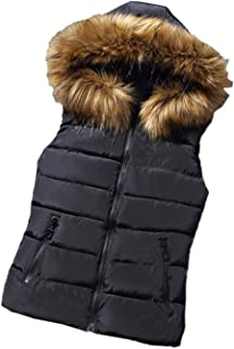 Women Quilted Lightweight Jackets Puffer Down Vest with Fur Hood