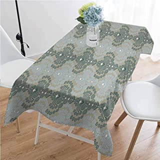 Gloria Johnson Floral Washable Long Tablecloth Abstract Art Damask Desgin Floral Ornament Background Wallpaper Pattern Print Dinner Picnic Home Decor W60 x L102 Inch Blue and Taupe