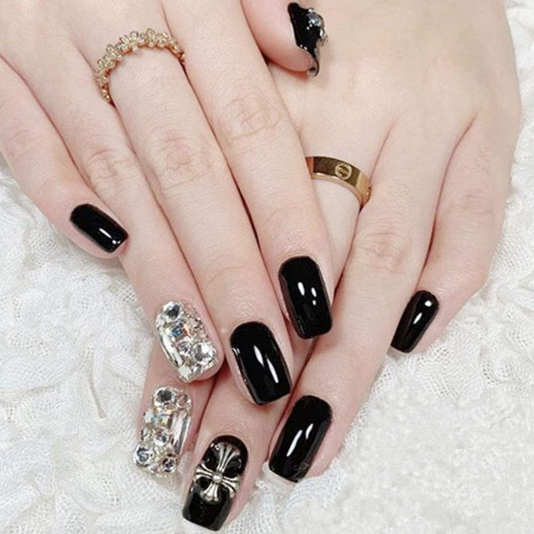 Aunica Glossy Lowest price challenge Fake Nails Black Acrylic Press At the price of surprise Sq Crystal On
