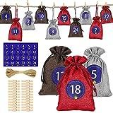 Molbory 24 calendarios de Adviento para rellenar, bolsas de tela, bolsas de regalo de Navidad con cordón, 1 – 24 pegatinas de números de Adviento, decoración DIY para hombres y niños