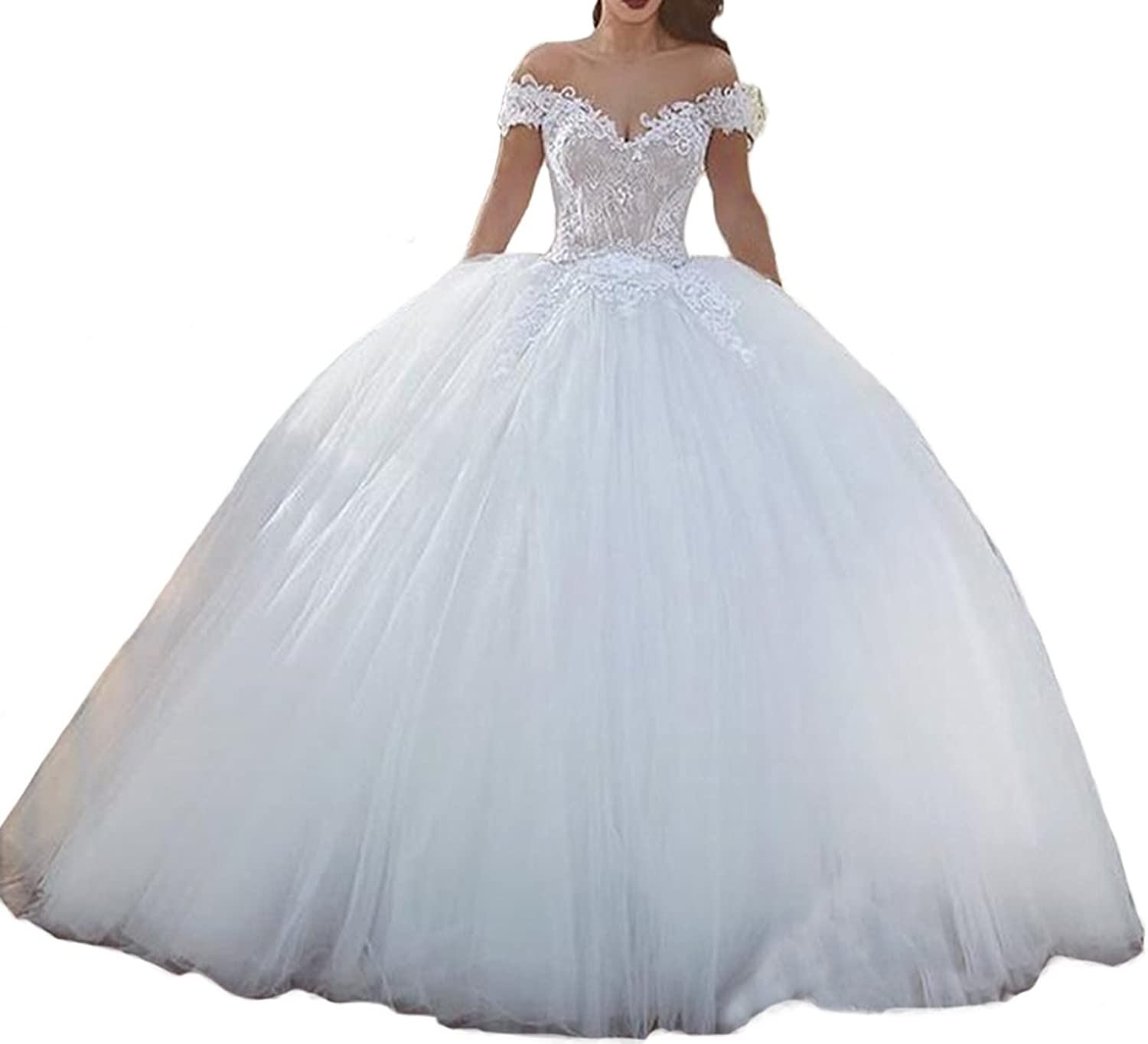 Tsbridal Off The Shoulder Lace Appliques Ball Gown Wedding Dresses Bride Gowns