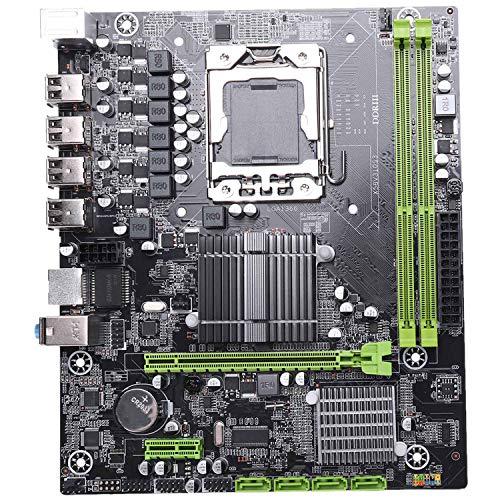 ACAMPTAR X58 LGA1366 Placa Madre de Escritorio M-ATX Gigabit Ethernet Soporte DDR3 REG Memoria del Servidor ECC y Procesador Xeon