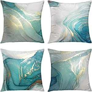 GALMAXS7 Marble Texture Turquoise and Gold Silver Decorative Throw Pillow Covers Luxury Abstract Fluid Art Ink Soft Velvet Pillow Case Square Cushion Covers for Couch Sofa 18 x 18 Inch Set of 4