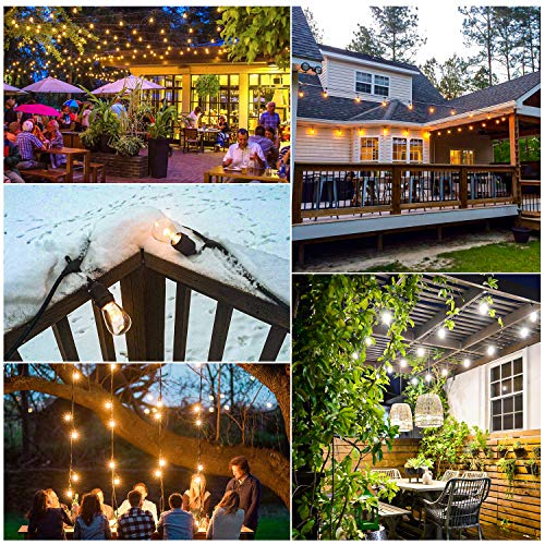 3 Color Outdoor LED Dimmable String Lights for Patio with Remotes, 48FT Waterproof LED Edison Bulb String Lights, Warm White Daylight White Shatterproof LED Light String for Cafe Bistro Pergola