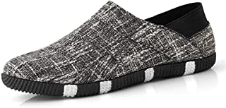 Fashion Shoes, Fashion Shoes Fashion Men Sneaker for Sports Shoes Slip On Style Linen Material Round Low Top Personality Stitching Comfortable Shoes, Breathable Shoes (Color : Black, Size : 7 UK)
