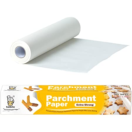 Katbite Heavy Duty Parchment Paper Roll for Baking -15 in x 164 ft Baking Paper for Oven, Air Fryer, Steaming and Grilling, Easy to Cut & Non-stick Cooking Paper, Total in 205 SQ FT