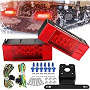 AMBOTHER Submersible Trailer Light Kit Tail Stop Brake License-Plate Turn Running Marker Lights Rectangular Low Profile Light for RV Boat Truck Marine Universal Red DC12V,2PCS,3 Year Warranty