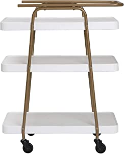 COSCO Stylaire 3 Tier Serving Cart, White & Gold