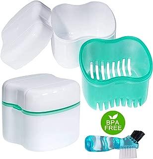 Scotte Denture Case,Dentures Box,Denture Brush Retainer Case,Denture Cups Bath,Dentures Container with Basket Denture Holder for Travel,Retainer Cleaning Case (Green)