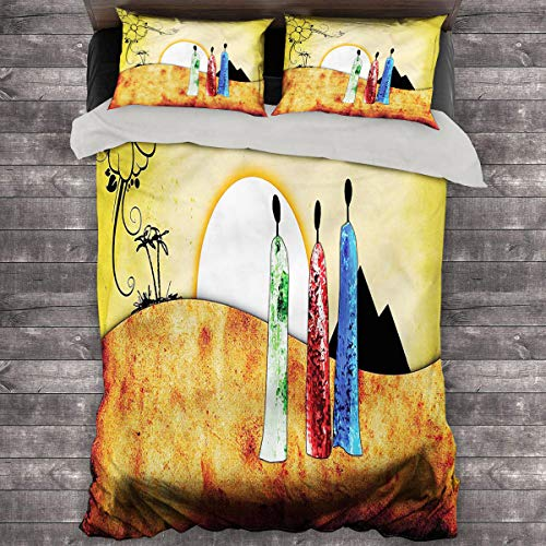 LanQiao African 3-Piece Duvet Cover Tribe Facing Sunrise. 68'x86' inch King Duvet Cover