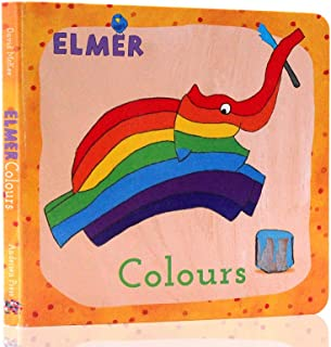 英?#33041;?#29256;Learn Colours with Elmer和艾玛一起学色彩 纸板书绘本0-3岁David Mckee大卫麦基 低幼儿启蒙绘本