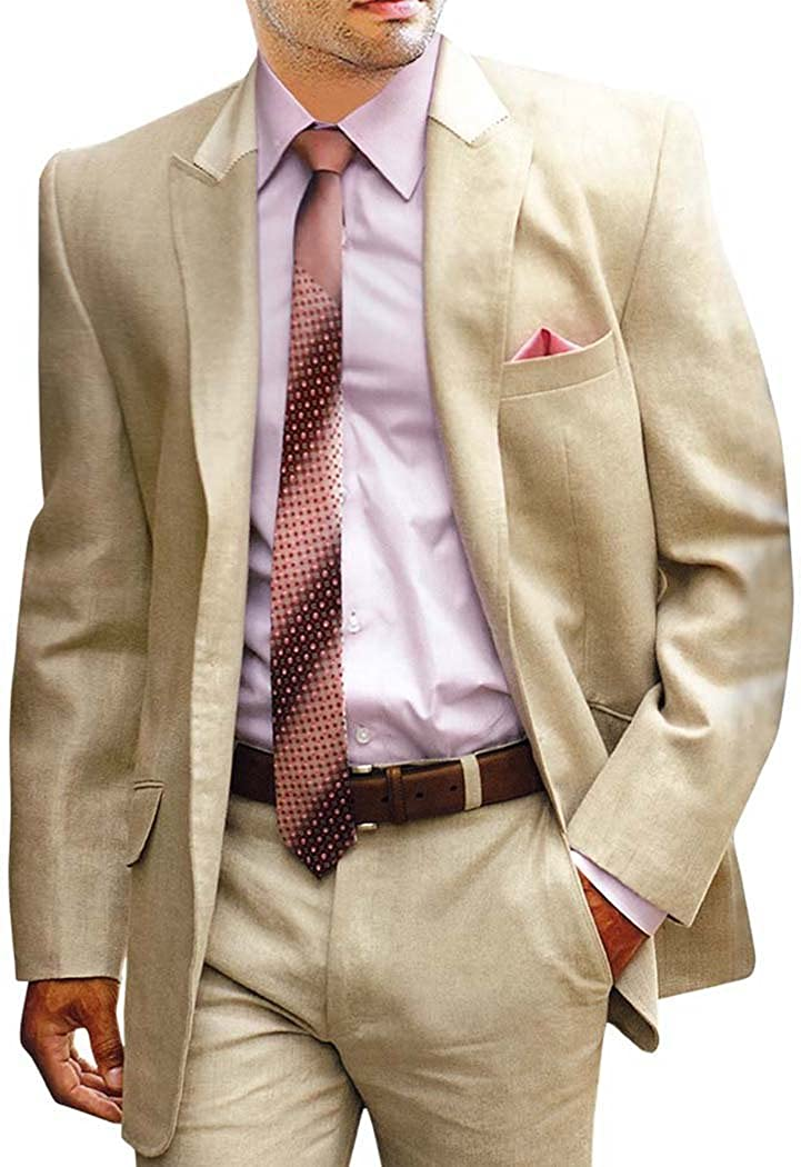 INMONARCH Mens Tan Linen 5 Pc Suit Traditional Style LS05