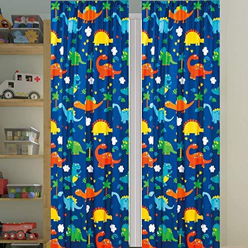 "Golden Linens 4 Pcs Window Curtains Panels (2 Panels 38"" X 84""(Each) + 2 tiebacks) Printed Multi Color Orange Green, Navy Blue Dinosaur Design # Curtain Dinosaur Orange"